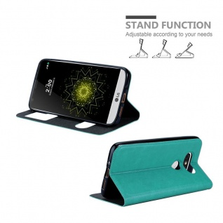Cadorabo Hülle für LG G5 in MINT TÜRKIS - Handyhülle mit Magnetverschluss, Standfunktion und 2 Sichtfenstern - Case Cover Schutzhülle Etui Tasche Book Klapp Style - Vorschau 4