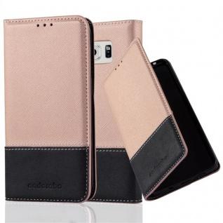 Cadorabo Hülle für Samsung Galaxy S6 EDGE PLUS in ROSÉ GOLD SCHWARZ ? Handyhülle mit Magnetverschluss, Standfunktion und Kartenfach ? Case Cover Schutzhülle Etui Tasche Book Klapp Style