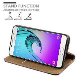 Cadorabo Hülle für Samsung Galaxy A3 2016 (6) - Hülle in KASTANIEN BRAUN - Handyhülle in Bast-Optik mit Kartenfach und Standfunktion - Case Cover Schutzhülle Etui Tasche Book Klapp Style - Vorschau 4