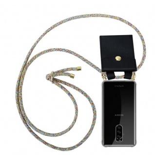 Cadorabo Handy Kette für Sony Xperia 1 in RAINBOW Silikon Necklace Umhänge Hülle mit Gold Ringen, Kordel Band Schnur und abnehmbarem Etui Schutzhülle