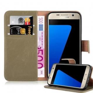 Cadorabo Hülle für Samsung Galaxy S7 in CAPPUCCINO BRAUN ? Handyhülle mit Magnetverschluss, Standfunktion und Kartenfach ? Case Cover Schutzhülle Etui Tasche Book Klapp Style