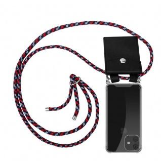Cadorabo Handy Kette für Apple iPhone 11 (XI) in ROT BLAU WEISS - Silikon Necklace Umhänge Hülle mit Silber Ringen, Kordel Band Schnur und abnehmbarem Etui - Schutzhülle