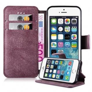 Cadorabo Hülle für Apple iPhone 5 / iPhone 5S / iPhone SE - Hülle in MATT ROT - Handyhülle mit Standfunktion und Kartenfach im Retro Design - Case Cover Schutzhülle Etui Tasche Book Klapp Style