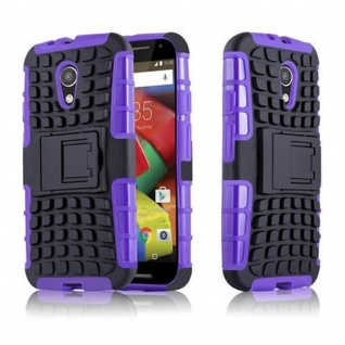 Cadorabo Hülle für Motorola G2 - Hülle in SCHWARZ LILA - Handyhülle mit Standfunktion - Hard Case TPU Silikon Schutzhülle für Hybrid Cover im Outdoor Heavy Duty Design