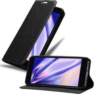 Cadorabo Hülle für Xiaomi RedMi NOTE 5A in NACHT SCHWARZ Handyhülle mit Magnetverschluss, Standfunktion und Kartenfach Case Cover Schutzhülle Etui Tasche Book Klapp Style