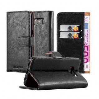 Cadorabo Hülle für Samsung Galaxy S8 in GRAPHIT SCHWARZ Handyhülle mit Magnetverschluss, Standfunktion und Kartenfach Case Cover Schutzhülle Etui Tasche Book Klapp Style