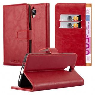 Cadorabo Hülle für OnePlus 3 / 3T in WEIN ROT ? Handyhülle mit Magnetverschluss, Standfunktion und Kartenfach ? Case Cover Schutzhülle Etui Tasche Book Klapp Style