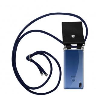 Cadorabo Handy Kette für Asus ZenFone Max M2 in TIEF BLAU Silikon Necklace Umhänge Hülle mit Silber Ringen, Kordel Band Schnur und abnehmbarem Etui Schutzhülle