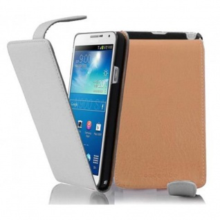 Cadorabo Hülle für Samsung Galaxy NOTE 3 in MAGNESIUM WEIß - Handyhülle im Flip Design aus strukturiertem Kunstleder - Case Cover Schutzhülle Etui Tasche Book Klapp Style