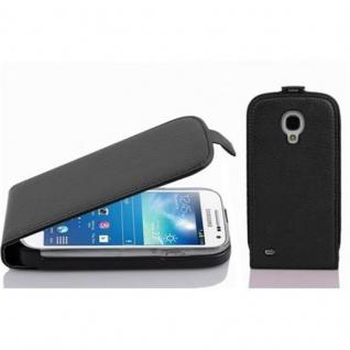 Cadorabo Hülle für Samsung Galaxy S4 MINI - Hülle in OXID SCHWARZ ? Handyhülle aus strukturiertem Kunstleder im Flip Design - Case Cover Schutzhülle Etui Tasche