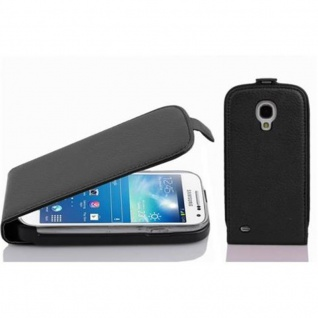 Cadorabo Hülle für Samsung Galaxy S4 MINI in OXID SCHWARZ - Handyhülle im Flip Design aus strukturiertem Kunstleder - Case Cover Schutzhülle Etui Tasche Book Klapp Style