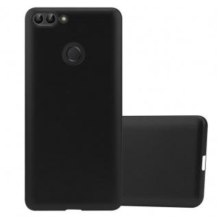 Cadorabo Hülle für Huawei P SMART / Enjoy 7S in METALLIC SCHWARZ - Handyhülle aus flexiblem TPU Silikon - Silikonhülle Schutzhülle Ultra Slim Soft Back Cover Case Bumper