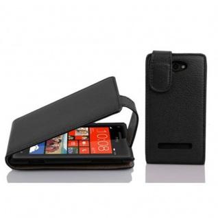 Cadorabo Hülle für HTC 8S in OXID SCHWARZ Handyhülle im Flip Design aus strukturiertem Kunstleder Case Cover Schutzhülle Etui Tasche Book Klapp Style