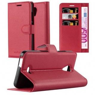 Cadorabo Hülle für WIKO FREDDY in KARMIN ROT - Handyhülle mit Magnetverschluss, Standfunktion und Kartenfach - Case Cover Schutzhülle Etui Tasche Book Klapp Style