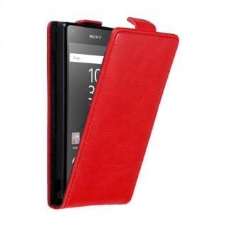 Cadorabo Hülle für Sony Xperia Z5 COMPACT in APFEL ROT - Handyhülle im Flip Design mit unsichtbarem Magnetverschluss - Case Cover Schutzhülle Etui Tasche Book Klapp Style