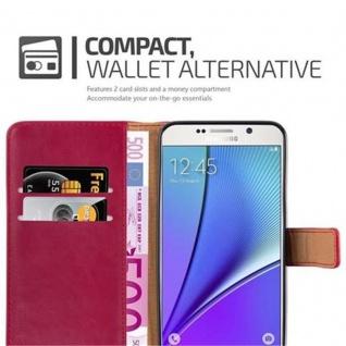 Cadorabo Hülle für Samsung Galaxy NOTE 5 in WEIN ROT ? Handyhülle mit Magnetverschluss, Standfunktion und Kartenfach ? Case Cover Schutzhülle Etui Tasche Book Klapp Style - Vorschau 3
