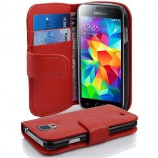 Cadorabo Hülle für Samsung Galaxy S5 MINI / S5 MINI DUOS in INFERNO ROT Handyhülle aus strukturiertem Kunstleder mit Standfunktion und Kartenfach Case Cover Schutzhülle Etui Tasche Book Klapp Style