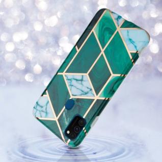 Cadorabo Hülle für Huawei P20 LITE Hülle in Dunkelgrün weiß gold Marmor No.6 Handyhülle aus TPU Silikon mit Muster Mosaik Silikonhülle Schutzhülle Ultra Slim Back Cover Case Bumper - Vorschau 4