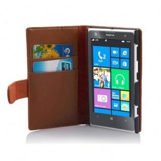 Cadorabo Hülle für Nokia Lumia 1020 in KAKAO BRAUN Handyhülle aus glattem Kunstleder mit Standfunktion und Kartenfach Case Cover Schutzhülle Etui Tasche Book Klapp Style