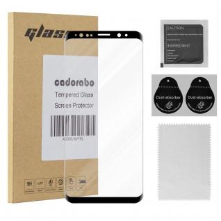 Cadorabo Panzer Folie voll klebend für Samsung Galaxy S9 - Schutzfolie in TRANSPARENT mit SCHWARZ - Gehärtetes Full Glue (Tempered) Display-Schutzglas in 9H Härte mit 3D Touch Kompatibilität
