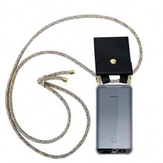 Cadorabo Handy Kette für Huawei P9 in RAINBOW - Silikon Necklace Umhänge Hülle mit Gold Ringen, Kordel Band Schnur und abnehmbarem Etui ? Schutzhülle