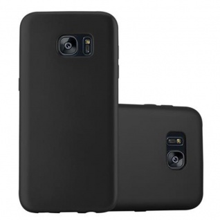 Cadorabo Hülle für Samsung Galaxy S7 EDGE in METALLIC SCHWARZ - Handyhülle aus flexiblem TPU Silikon - Silikonhülle Schutzhülle Ultra Slim Soft Back Cover Case Bumper