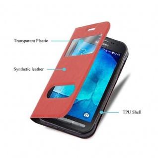 Cadorabo Hülle für Samsung Galaxy XCOVER 3 in SAFRAN ROT - Handyhülle mit Magnetverschluss, Standfunktion und 2 Sichtfenstern - Case Cover Schutzhülle Etui Tasche Book Klapp Style - Vorschau 3