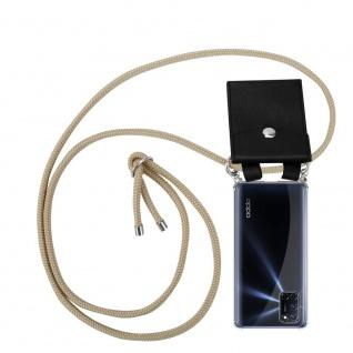 Cadorabo Handy Kette für Oppo A52 in GLÄNZEND BRAUN Silikon Necklace Umhänge Hülle mit Silber Ringen, Kordel Band Schnur und abnehmbarem Etui Schutzhülle