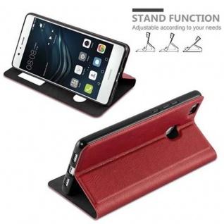 Cadorabo Hülle für Huawei P9 LITE in SAFRAN ROT - Handyhülle mit Magnetverschluss, Standfunktion und 2 Sichtfenstern - Case Cover Schutzhülle Etui Tasche Book Klapp Style - Vorschau 4