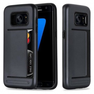 Cadorabo Hülle für Samsung Galaxy S7 EDGE - Hülle in ARMOR SCHWARZ ? Handyhülle mit Kartenfach - Hard Case TPU Silikon Schutzhülle für Hybrid Cover im Outdoor Heavy Duty Design