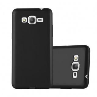 Cadorabo Hülle für Samsung Galaxy GRAND PRIME in METALLIC SCHWARZ - Handyhülle aus flexiblem TPU Silikon - Silikonhülle Schutzhülle Ultra Slim Soft Back Cover Case Bumper