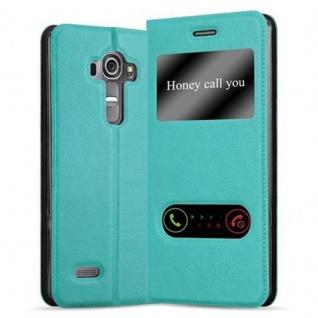 Cadorabo Hülle für LG G4 / G4 PLUS in MINT TÜRKIS - Handyhülle mit Magnetverschluss, Standfunktion und 2 Sichtfenstern - Case Cover Schutzhülle Etui Tasche Book Klapp Style