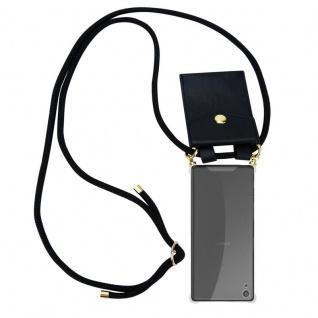 Cadorabo Handy Kette für Sony Xperia XA in SCHWARZ ? Silikon Necklace Umhänge Hülle mit Gold Ringen, Kordel Band Schnur und abnehmbarem Etui ? Schutzhülle