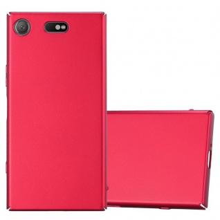 Cadorabo Hülle für Sony Xperia XZ1 Compact in METALL ROT - Hardcase Handyhülle aus Plastik gegen Kratzer und Stöße - Schutzhülle Bumper Ultra Slim Back Case Hard Cover