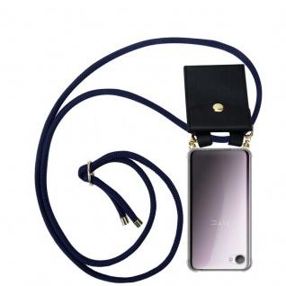 Cadorabo Handy Kette für HTC Desire 12 in TIEF BLAU - Silikon Necklace Umhänge Hülle mit Gold Ringen, Kordel Band Schnur und abnehmbarem Etui ? Schutzhülle