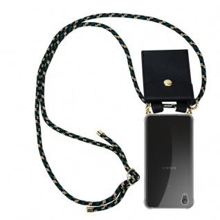 Cadorabo Handy Kette für Sony Xperia XA1 PLUS in CAMOUFLAGE Silikon Necklace Umhänge Hülle mit Gold Ringen, Kordel Band Schnur und abnehmbarem Etui Schutzhülle