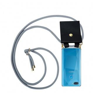 Cadorabo Handy Kette für Oppo A12 in SILBER GRAU Silikon Necklace Umhänge Hülle mit Gold Ringen, Kordel Band Schnur und abnehmbarem Etui Schutzhülle