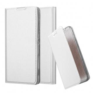 Cadorabo Hülle für Sony Xperia XA in CLASSY SILBER - Handyhülle mit Magnetverschluss, Standfunktion und Kartenfach - Case Cover Schutzhülle Etui Tasche Book Klapp Style