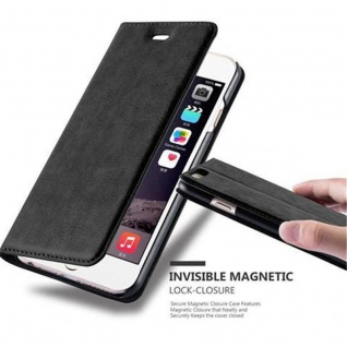 Cadorabo Hülle für Apple iPhone 6 / iPhone 6S in NACHT SCHWARZ - Handyhülle mit Magnetverschluss, Standfunktion und Kartenfach - Case Cover Schutzhülle Etui Tasche Book Klapp Style