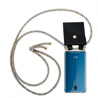 Cadorabo Handy Kette für LG K40 in RAINBOW - Silikon Necklace Umhänge Hülle mit Gold Ringen, Kordel Band Schnur und abnehmbarem Etui ? Schutzhülle
