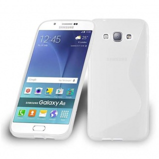 Cadorabo Hülle für Samsung Galaxy A8 2015 in HALB TRANSPARENT ? Handyhülle aus flexiblem TPU Silikon ? Silikonhülle Schutzhülle Ultra Slim Soft Back Cover Case Bumper