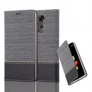 Cadorabo Hülle für LG STYLUS 2 - Hülle in GRAU SCHWARZ ? Handyhülle mit Standfunktion und Kartenfach im Stoff Design - Case Cover Schutzhülle Etui Tasche Book