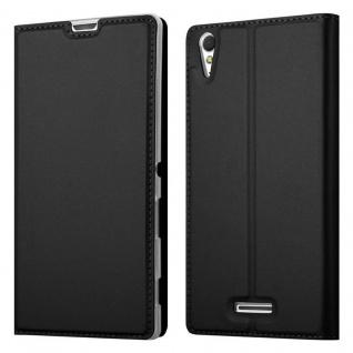 Cadorabo Hülle für Sony Xperia T3 in CLASSY SCHWARZ - Handyhülle mit Magnetverschluss, Standfunktion und Kartenfach - Case Cover Schutzhülle Etui Tasche Book Klapp Style