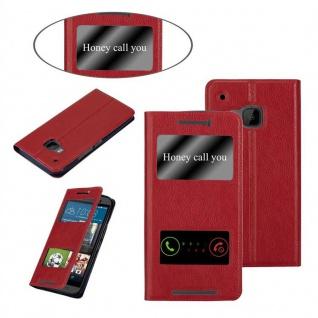 Cadorabo Hülle für HTC One M9 in SAFRAN ROT - Handyhülle mit Magnetverschluss, Standfunktion und 2 Sichtfenstern - Case Cover Schutzhülle Etui Tasche Book Klapp Style - Vorschau 3