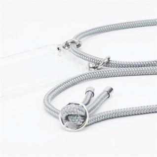 Cadorabo Handy Kette für Honor 20e in SILBER GRAU Silikon Necklace Umhänge Hülle mit Silber Ringen, Kordel Band Schnur und abnehmbarem Etui Schutzhülle - Vorschau 2