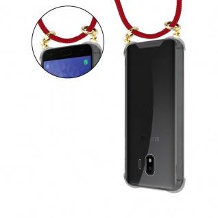 Cadorabo Handy Kette für Samsung Galaxy J4 2018 in RUBIN ROT - Silikon Necklace Umhänge Hülle mit Gold Ringen, Kordel Band Schnur und abnehmbarem Etui ? Schutzhülle - Vorschau 5