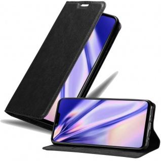 Cadorabo Hülle für LG G8 ThinQ in NACHT SCHWARZ - Handyhülle mit Magnetverschluss, Standfunktion und Kartenfach - Case Cover Schutzhülle Etui Tasche Book Klapp Style