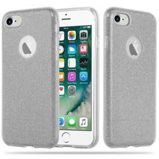 Cadorabo Hülle für Apple iPhone 7 / 7S / 8 / SE 2020 - Hülle in STERNENSTAUB SILBER ? TPU Silikon und Hardcase Handyhülle im Glitzer Design - Hard Case TPU Silikon Schutzhülle