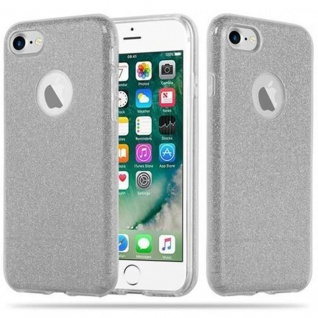 Cadorabo Hülle für Apple iPhone 8 / iPhone 7 / iPhone 7S - Hülle in STERNENSTAUB SILBER ? TPU Silikon und Hardcase Handyhülle im Glitzer Design - Hard Case TPU Silikon Schutzhülle