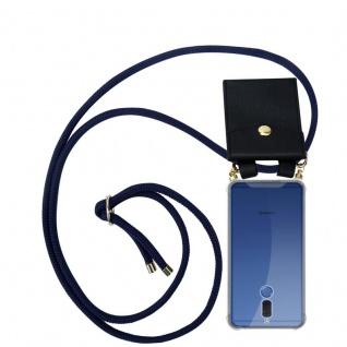 Cadorabo Handy Kette für Huawei MATE 10 LITE in TIEF BLAU - Silikon Necklace Umhänge Hülle mit Gold Ringen, Kordel Band Schnur und abnehmbarem Etui ? Schutzhülle